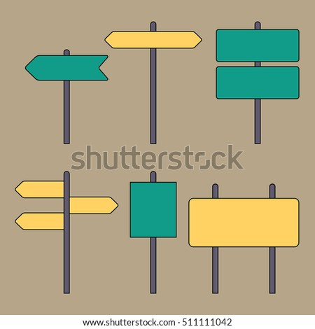 Road signs. Traffic symbols. Flat design thin line style. Vector illustration #511111042