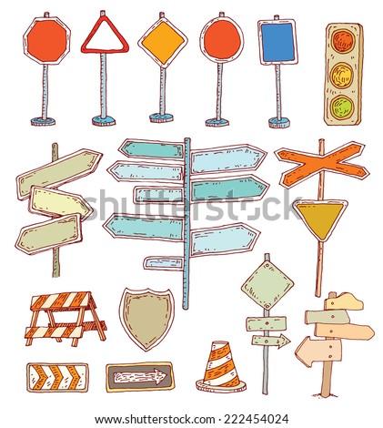 Road signs. Vector illustration.