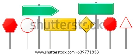 Road signs vector red and yellow empty banners  road sign mock up with place for text or symbol