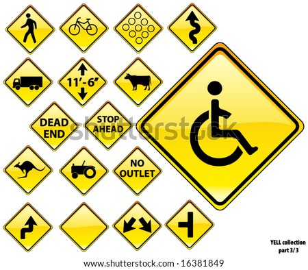 Road Signs YELLOW series: 17 different detailed US/Australian style road signs; part 3/3