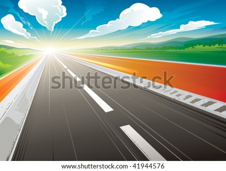 road speed landscape in the
