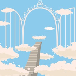 Road, stairs to heaven, open gates of heaven, sky, clouds, Christianity, vector, isolated, cartoon style