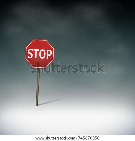 Road stop sign. Fog in the dark. Octagonal prohibiting pointer. Stock vector illustration.