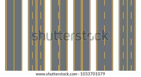 Road, street with asphalt. Highway.Direction, transportation set. Vector illustration.