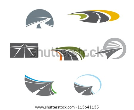 Road symbols and pictograms for transportation design, such a logo idea. Jpeg version also available in gallery