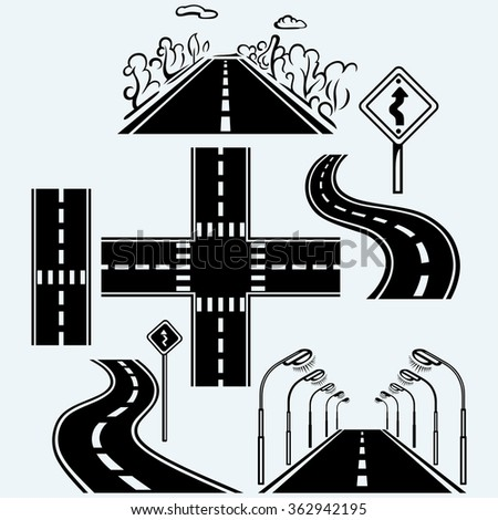 road symbols with winding