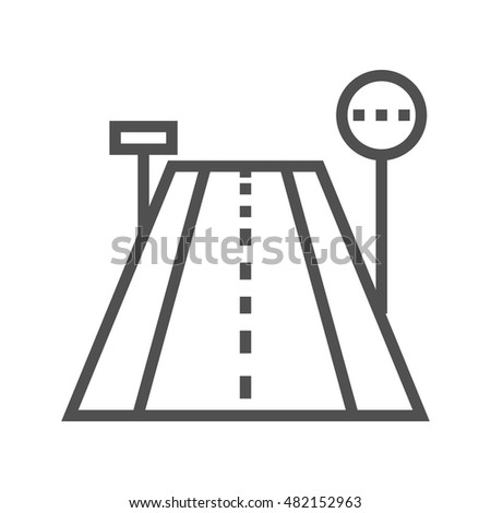 Road Thin Line Vector Icon Isolated on the White Background.