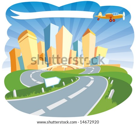 Road to a city center - stock vector