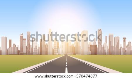 road to city skyscraper view