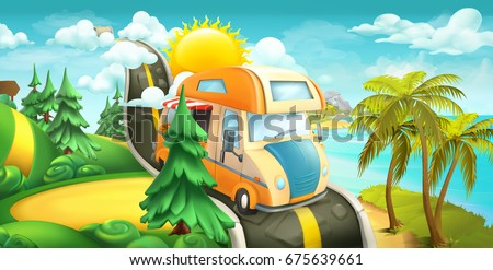Road to clouds, sea and forest. Nature landscape 3d vector panorama