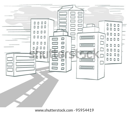 Road to Downtown, Vector Illustration