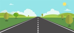 Road to nature backgroud vector illustration.Street with field , hills , clouds , trees and sun.Beautiful nature landscape.