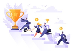 Road to success. Group of different running businessmen to achieve results, goals and enrichment. Business competition concept. Flat people run to goal on the stairs symbolizing path to success.