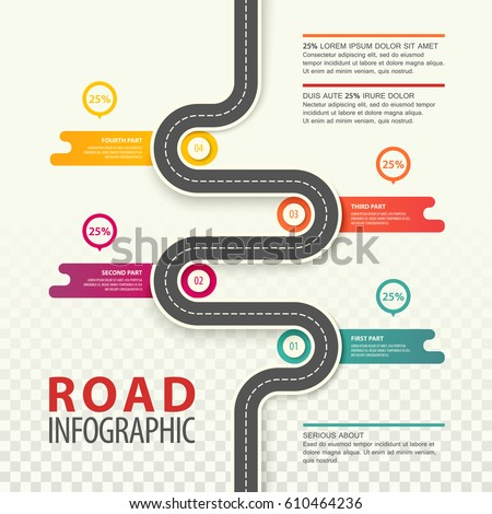 Road top view infographics with dotted line and percents in round graphs, traffic map of asphalt street in city or town, highway statistics. Path and travel, car journey or trip, information and plan