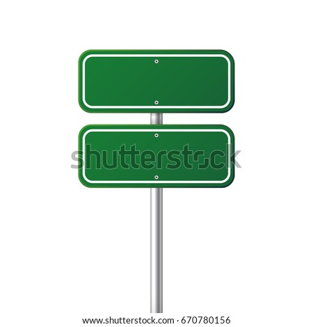 Road traffic sign. Blank board with place for text.Mockup. Isolated information sign. Direction. Vector illustration.White background. #670780156