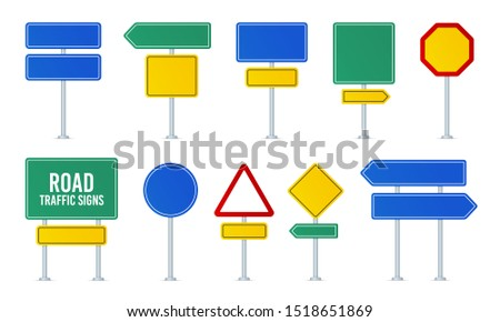 Road traffic vector signs set. Direction arrow, information board. Attention traffic signs mockup. Road destination board, highway left or right arrow. Warning message panel, street signboard. Vector Photo stock ©
