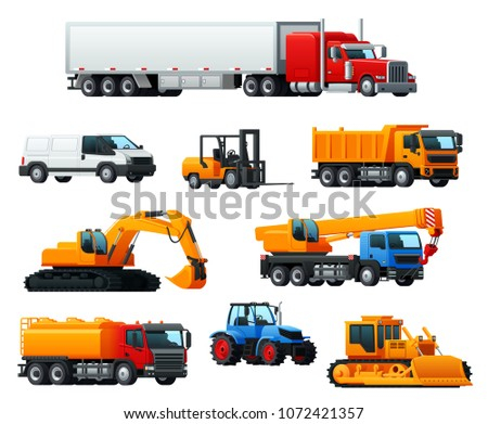 Road transport and heavy machinery 3d icon. Car or delivery van, lorry truck, bulldozer, tractor, dump truck, forklift truck, crane and excavator for transportation, cargo delivery, agriculture design
