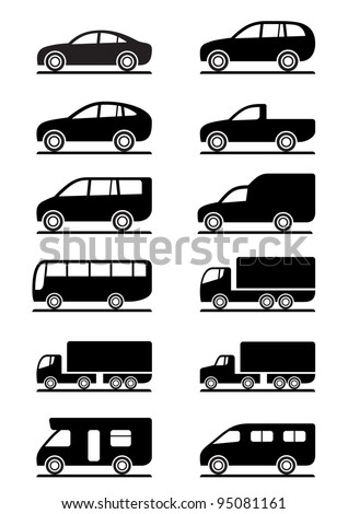 Road transportation icons set - vector illustration