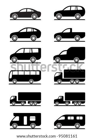 Road transportation icons set - vector illustration