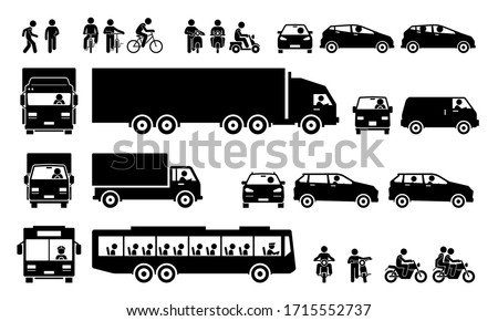 Road transports and transportation icons. Vector cliparts of man walking, cycling bicycle, riding motorbike, motorist driving car, lorry, and van. Many people taking public bus.
