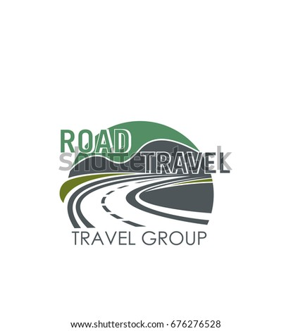 Road travel company or tourist group icon template. Vector symbol of highway or roadway path and traffic lanes in nature landscape for road trip or journey transportation route