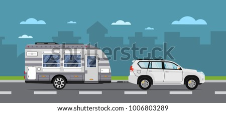 road travel poster with suv car ...