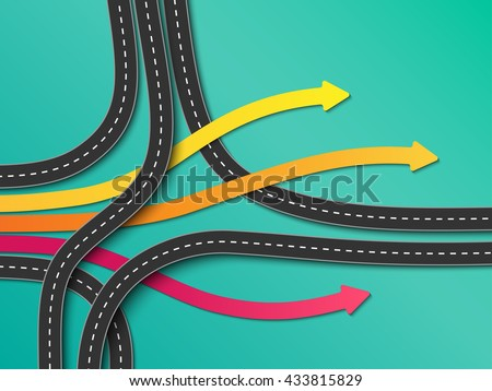 Road trip and Journey route. Business and Journey Infographic. Stylish Serpentine in the form of arrows. Winding roads on a colorful background. Vector EPS 10