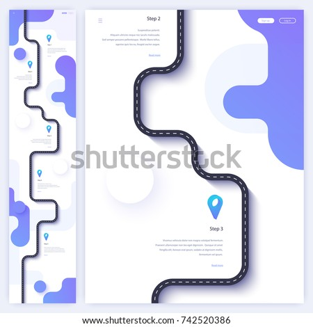 Road trip and journey route homepage concept. Minimal landing page template. Flat vector illustration. Eps 10