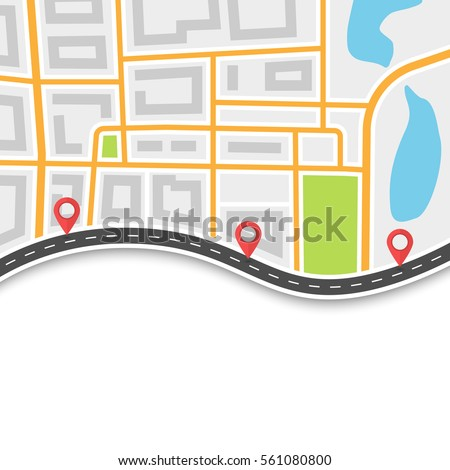 Road trip and Journey route. Winding Road on the Map Background with Pin Pointers. Abstract GPS navigation banner. Vector EPS 10