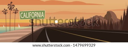 road trip california sign and