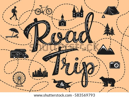 road trip poster with a stylized map with point of interests and sightseeing for travelers like city, old castle, monastery, fan fair, beach, sea, forest, mountain in black and white color ストックフォト ©