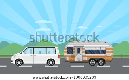 Road trip poster with van and camping trailer on mountain background. RV trailer caravan, compact motorhome, mobile home for country traveling and outdoor family vacation vector illustration