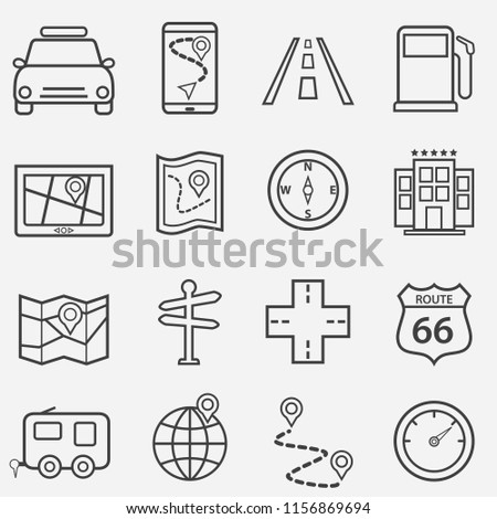 Road trip, travel and navigation line icon set