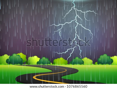 Road Trip Under Thunderstorm Night illustration