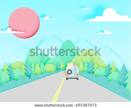 Road trip with car and natural pastel color scheme background paper cut style vector illustration