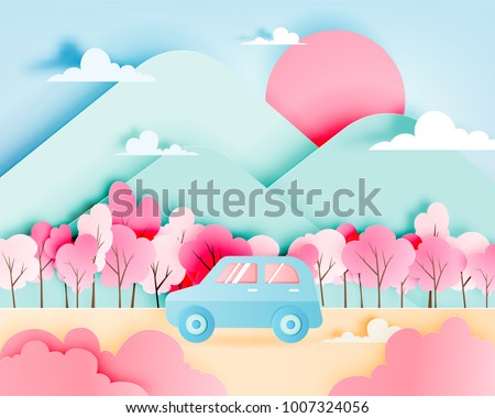 road trip with car in spring