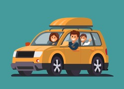 Road Trip with family. Father, mother, son. Vector flat style