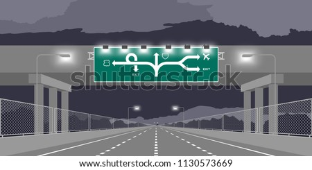 Road underpass Highway or motorway and green signage at nighttime illustration isolated on dark sky background