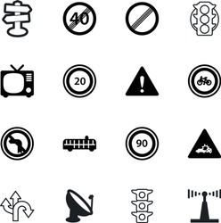 road vector icon set such as: button, television, damage, data, label, tower, guidepost, insurance, show, triangle, siren, public, left, route, home, choice, colorful, auto, figure, empty, electric