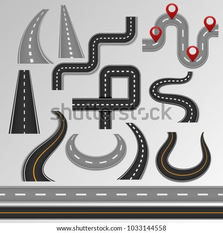 Road vector roadway and highway on map with route path illustration set of roadside or crossroad in pathway isolated on background