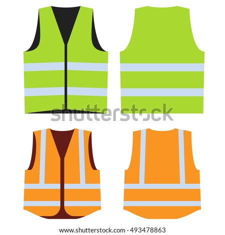 Road vest for safe work. Safety clothing with reflective stripes. Vector illustration. Front and back side. Orange and green isolated security waistcoats. Template for fashion design.