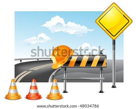 Road warning cone, sign for construction works and helmet, vector illustration