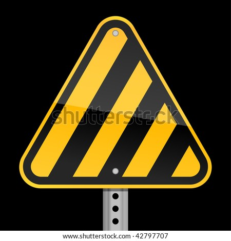 Road yellow hazard warning sign witn warning stripes on a black background