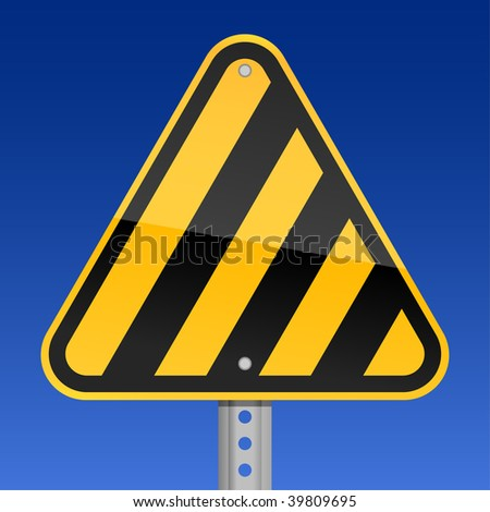 Road warning sign with yellow and black warning stripes on a sky background