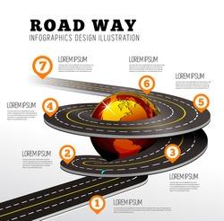 Road way design infographics.