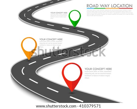 Road way location info-graphic template with pin pointer. Vector background