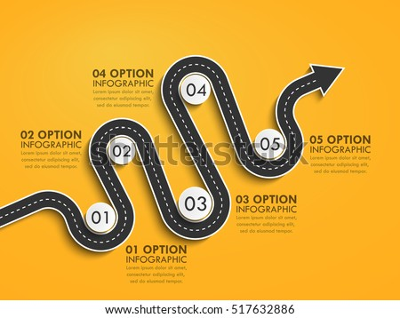 Road way location infographic template with a phased structure. Winding road timeline. Stylish Serpentine in the form of arrows. Vector EPS 10
