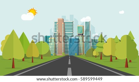 Road way to city buildings on horizon vector illustration, highway cityscape flat style, modern big skyscrapers town far away ahead, forest perspective landscape and city view
