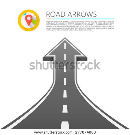 Road with an arrow up. Road cover up, Vector illustration
