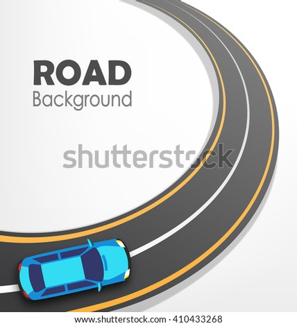 road with car on white